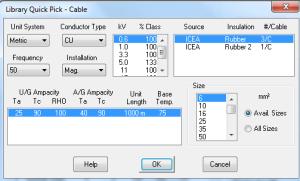 sizing cable etap